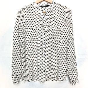 Zara White and Navy Polka Dot Button Down Blouse